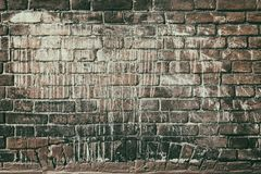 Old red brick wall in white paint - faded retro grunge background. Old red brick wall drenched in white paint. Faded retro grunge background royalty free stock photography