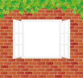 Old red brick wall with a white window. Royalty Free Stock Image