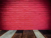 Old red brick wall and wood floor texture Royalty Free Stock Photography