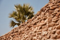 A high old bricks made structure isolated unique photo. Old red bricks made high structure with blue sky background unique royalty free photo royalty free stock photos