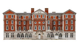 Old Red Bricks Mansion Isolated On White Stock Images