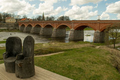 Old red bridge in Latvia Royalty Free Stock Images