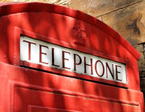 Old Red British Telephone Booth or Kiosk Royalty Free Stock Images