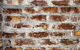 Old red and brown color brick wall texture background. stock photo
