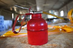 old red bucket for oil. stock photo