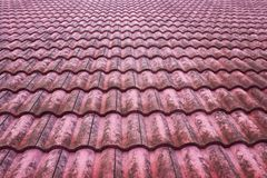 Old red bulgarian roof tiles. Close up detail Stock Images