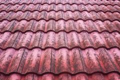 Old red bulgarian roof tiles. Close up detail Stock Photo