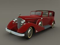 Old red car (3d graphics). Old american car. 3d render Royalty Free Stock Photo