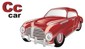 Old red car with abc. Red retro car with her name and letters c Stock Image