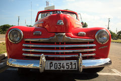 Old red car in Cuba Royalty Free Stock Photo