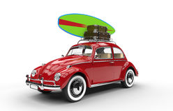 Old red car with surfboard and luggage. On a white background Stock Images