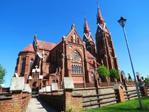 Old red catholic church, Lithuania Royalty Free Stock Images