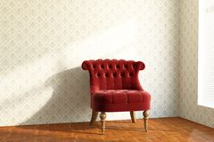 Old red Chair. In the living room on wooden package Stock Image