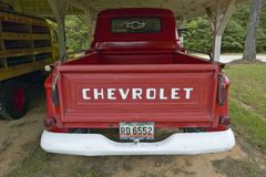Old red Chevrolet truck in a garage along Highway 22 in Central Georgia Stock Image