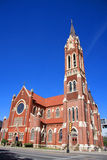 Old red church in downtown of Dallas Royalty Free Stock Photo