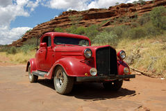 Old red classic car. In Australia Royalty Free Stock Image