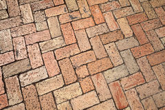Old red cobblestone pavement, background Stock Photos