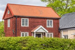 Old Red Cottage in Sweden Stock Photo