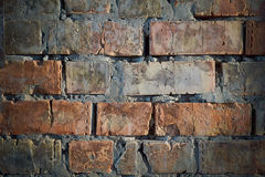 Old red cracked brick wall Royalty Free Stock Image