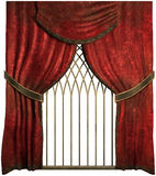 Old red curtains Stock Photos