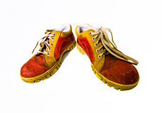 Old red dirty boots Royalty Free Stock Photos