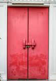 Old Red door in Temple Stock Photo