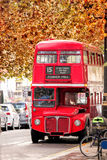 Old Red Double Decker Bus in London, UK Royalty Free Stock Images