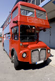 Old red double decker public bus. Located at Greece Royalty Free Stock Images