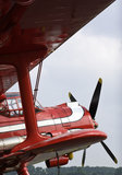 Old red doubledecker aircraft. Front of vintage double decker airplane Royalty Free Stock Images