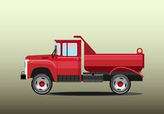Old red dump truck. Old urban small red dump truck machine Stock Images