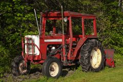 Farm Tractor. Old red farm tractor in front of foliage royalty free stock images