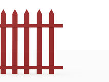 Old red fence rendered on white Royalty Free Stock Photos