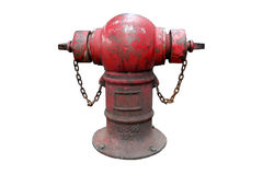 Old red fire hydrant with chain Isolated on white background. Royalty Free Stock Photos