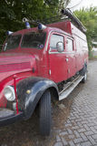 Old red fire truck parked in the netherlands Stock Image