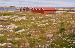 Old, red fisherman's huts Stock Photos