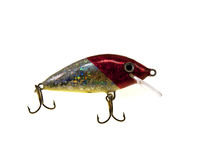 Old red fishing wobbler a small fish Stock Image