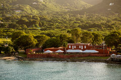 Old Red Fort on Green Coast of St Croix Stock Photo