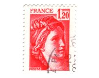 Old red french stamp Stock Images