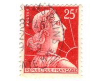 Old red french stamp Stock Photo
