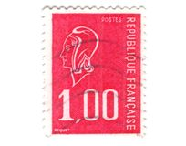 Old red french stamp Stock Photography