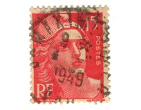 Old red french stamp Stock Image