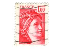 Old red french stamp Royalty Free Stock Photos
