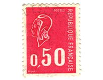 Old red french stamp Stock Photos