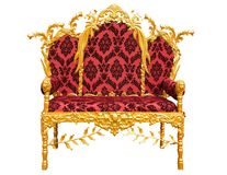 Old red golden king throne isolated over white. royalty free illustration
