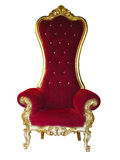 Old red golden king throne isolated over white. royalty free stock photo