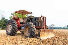 Old red grader bulldozer. The old red grader bulldozer Stock Photo
