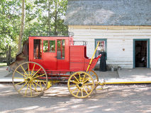 Old Red Horse Wagon. Old time red horse carriage or wagon Royalty Free Stock Photos