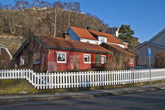Old red house in Halden. In Halden, there are many old houses, most of the houses are from after 1826 when a major fire put almost the entire city desolate. The Stock Photography