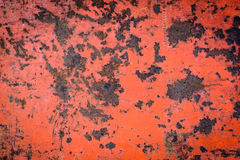 Old red iron wall has rust and stains on the background Stock Photo
