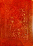Old red leather texture with decorative frame. Royalty Free Stock Images